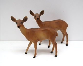 PAIR Deer Fawn Figure plastic / resin woodland