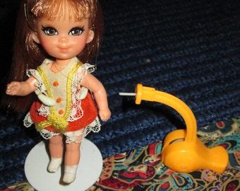 Vintage Liddle Kiddle Sheila Skediddle and Her Orange Skediddler