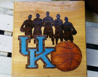 Universit of Kentucky box, wood burned