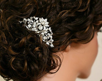 Mila - Vintage style Wedding hair comb, bridal hair accessories, wedding rhinestone hair comb, bridal hair comb -Made to order