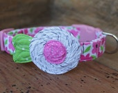Pink Dog Collar - Pink Floral with White/Grey Flower and Green Leaves