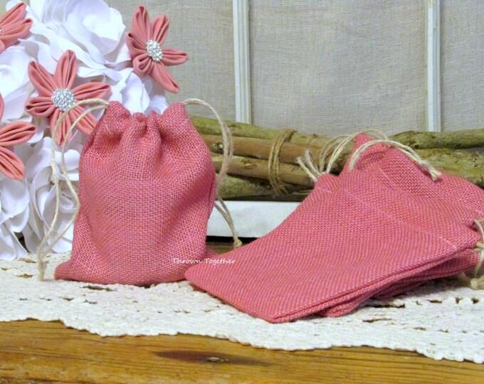 Pink Burlap Party Favor Bag, Pink Baby Shower Bag, Pink Wedding Favors, Rustic Bags, Baby Pink Favor Bag, Set of 5 Handmade Rustic Gift Bags