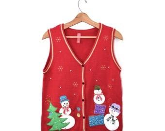 Ugly Christmas Vest Sweater Vest Christmas Sweater Snowmen Vest Ugly Christmas Vest Christmas Sweater Vest
