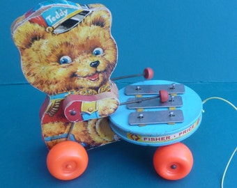 Vintage Fisher Price Teddy Zilo Bear Pull Toy 1967 #741