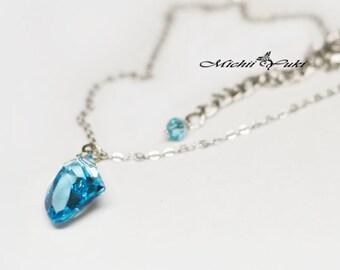 Final Fantasy Raw Crystal Inspired Necklace - Shiva- Support Materia - Swarovski Crystal