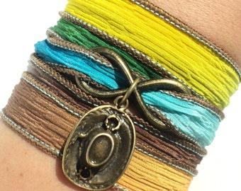 Boho Wrap Bracelet, Silk Wrap Bracelet, Yoga, Yoga Jewelry, Gypsy Jewelry - Gypsy Soul - Boho Gift - Country Girl Gift - Christmas Gifts