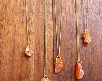 Wire Wrapped Fire Agate Pendant Necklace Rough Crystal Necklace Raw Agate Jewelry Healing Crystals Spiritual Necklace Orange Fire Agate Wire