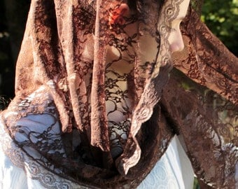 Chapel Veil Mantilla Brown Lace Catholic Headcovering For Mass Church