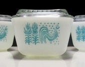 Pyrex Butterprint Pattern Aqua Blue on White Oblong Rectangular Refrigerator Jars with Matching Lids - Set of 3 (2 small and 1 medium)