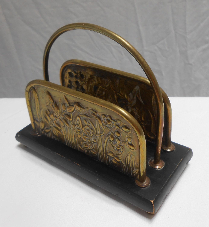 Antique letter holder desk accessory office brass wood design for Vintage letter holder desk