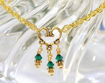 Heart Anklet Heart Charm Anklet Green Heart Anklet Gold Chain Anklet Green Gold Anklet 9 inch Adjustable Ankle Bracelet