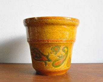 Large Bitossi Liberty Planter in Yellow Paisley