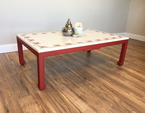 Red Coffee Table - Marble Top Table - Made in Italy - Cool Coffee Tables  - Vintage Furniture - Country Chic