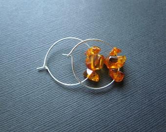 Amber Earrings - Baltic Amber Jewelry - 30mm Hoop Earrings - Amber Bead Earrings