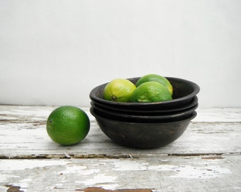 Woven Wood Bowls (4). In Black-washed Wood