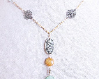 Bronze necklace with multi stone necklace, natural amazonite & agate stones necklace, brass filigree necklace , multi mineral stones jewelry