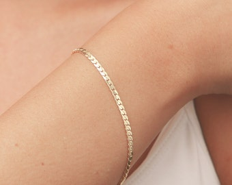 Dainty gold bracelet Delicate Gold Chain Layered Bracelet bridesmaid gift 24k gold plated jewelry.
