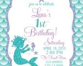 ON SALE Mermaid Birthday Invitation, Mermaid Party Invite Under the sea mermaid glitter baby mermaid