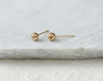 14k Gold Studs Solid Gold Studs Gold Ball Studs 14k Gold Earrings Rock Studs
