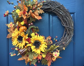 Sunflower Wreath, Fall Sunflower Wreath, Fall Door Wreaths, Fall Door Decor, Autumn Decor, Thanksgiving Wreaths, Fall Decorating