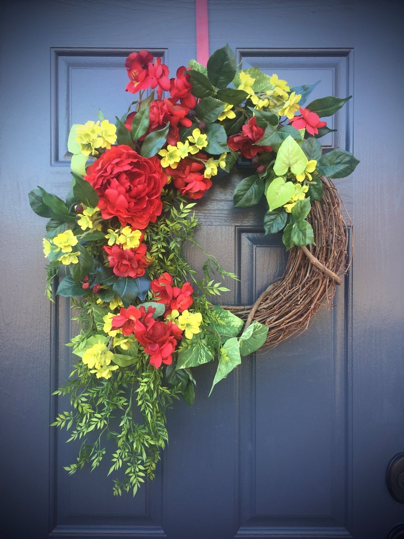 Spring Wreaths Summer Door Wreath Red Green Wreath Red