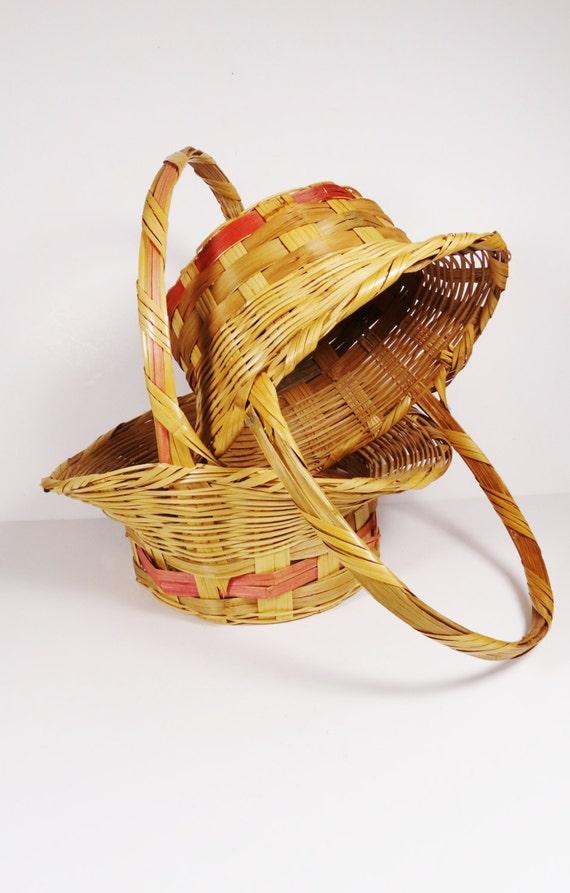 Pair Vintage Wicker Easter Basket 1950s Easter Baskets
