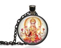 Lakshmi Goddess Necklace, Wealth and Beauty, Hindu Goddess Pendant [C71]