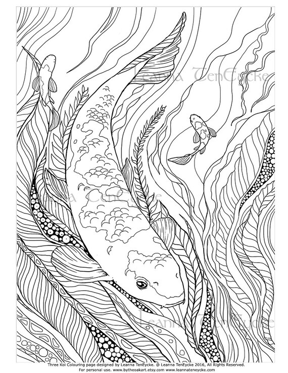 Items similar to adult colouring page fish animals koi for Adult fish coloring pages