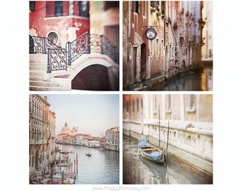 Venice Travel Photography, Set of 4 Prints, Gift for Traveller,  Art Print Set of Venice Italy