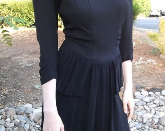 VINTAGE BLACK DRESS 1940s Sequins New York Creations Size Small