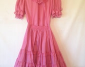 1960s square dancing outfit pink square dancing top and skirt vintage pink dress rockabilly outfit pink tiered skirt partners please dress