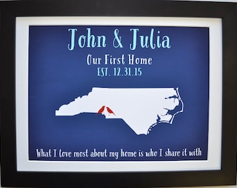 Unique wedding shower gift anniversary gift, wedding shower gift ideas, housewarming gift, unique bridal shower gifts, north carolina