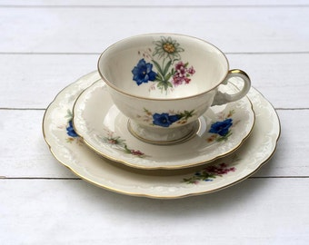 RARE Vintage German Teacup and Saucer Trio Set - Botanical Blue Trumpet Flowers with Daisies