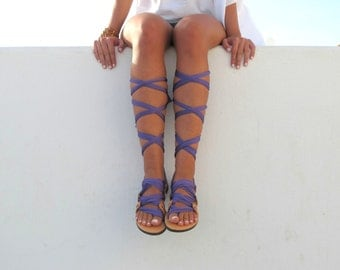 """Lace up sandals, Customizable, Choose scarf laces from 20 colors and leather footbed from 6 colors  """"ATHENA"""" - Free standard shipping"""