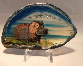 Hippo Painting on Agate