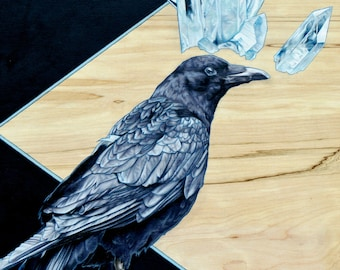 "Crow and Crystals Fine Art Print; ""Clarity"" 6.75 x 10"