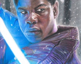 Full Color Drawing Print of Colored Pencil Drawing of John Boyega as Finn from Star Wars: The Force Awakens (8.5 x 11)