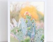 Prickly Pear Cactus Photography, Pastel Southwestern Desert Art, Mint, Gold, Peach, Yellow, Nursery Art, Girls Room, Bedroom, Bathroom Art