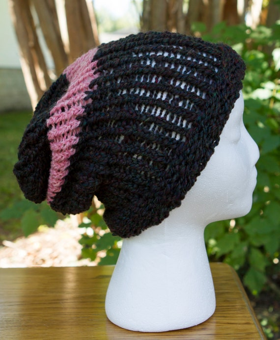 ONE IN STOCK - Ready to Ship! / One of a Kind Striped Slouchy Hat - 100% handspun natural fibers