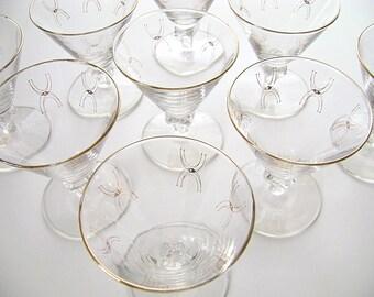 Vintage Atomic Barware, Atomic Glasses, Mid Century Modern, MCM, Space Age, American Modern, Gold Rimmed, Sputnik, Sherbet, Set of 9