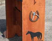 Susan's Saddle Stands New Rustic Style saddle rack with  horse shoe and horse art ONE  DOLLAR SHIPPING