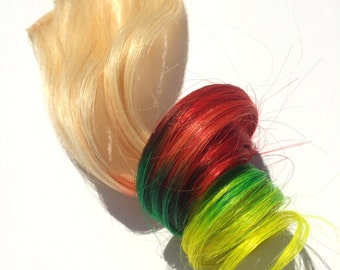 Rasta Ombre Platinum Blonde to Red Green Yellow Color Melt Human Hair Clip-In Extensions Remy Human Hair Extensions In Stock READY TO SHIP