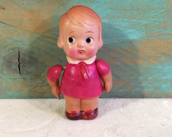 Vintage 1940s Celluloid Doll, Small Kewpie Style Carnival Doll, Pink Dress, Occupied Japan, Little Girl Doll Toy