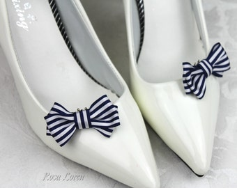 Nautical Stripe Shoe Clips, Nautical Bow Shoe Bows, Blue and White Striped Bow Clip Shoes, Nautical Wedding Accessories