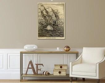 Octopus Art, Octopus Print, Nautical Wall Decor Kraken on Stormy Sea, Coastal Art, Beach Art, Man Cave Decor Gift for Men, Father's Day Gift