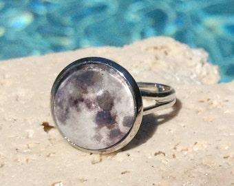 Full moon art ring, moon ring, full moon ring, moon jewelry, space jewelry, Ring #SP120R