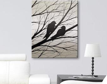 Love Birds Painting Gray Wall Decor Canvas Art Wall Art Bird Silhouette Painting of Birds Original Painting Wall Hanging 16x20 Todd Evans