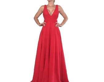 Red Prom Dress/ Red Gown Open Back/ Formal Wear/ Prom Dress/ Formal Dress/ Formal Gown/ Red Dress/ Long Red Dress