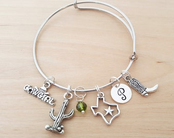 Western Cowgirl Texas Bracelet - Personalized Bracelet - Adjustable Bangle - Birthstone Bracelet - Personalized Jewelry - Gift For Her