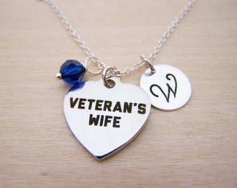Veterans Wife Charm Swarovski Birthstone Initial Personalized Sterling Silver Necklace / Gift for Her - Veteran Necklace